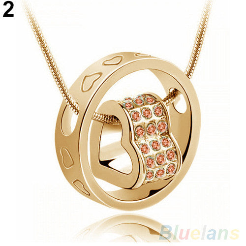 Women's Fashion Crystal Chain Rhinestone Gift Love Heart Ring Pendant Necklace