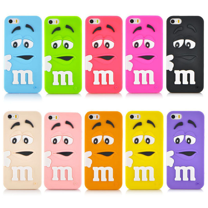 Soft Silicone Cute M&M Chocolate Colorful Rainbow Beans