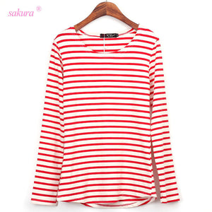 2016 Autumn Winter long t-shirt women striped long sleeve casual stripes Anchor Ballinciaga Printed t shirt  woman tops tees - Gifts Leads