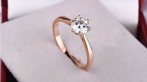 High quality 18K rose Gold Plated Classic 6 claws 1.2 carat  simulated diamond wedding