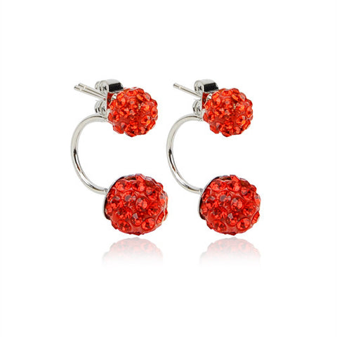 New Double Side Earrings Fashion Crystal Disco Ball Shamballa Stud Earrings for Women Stainless Steel Bottom Top Quality Brincos