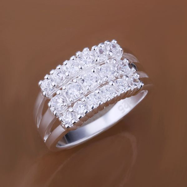925 sterling silver jewelry ring fine fashion three line zircon finger rings