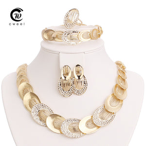 Jewelry Sets For Women Gold Plated Wedding Party Bridal Accessories Necklace Set Fashion CZ Crystal Rhinestone Pendant Costume