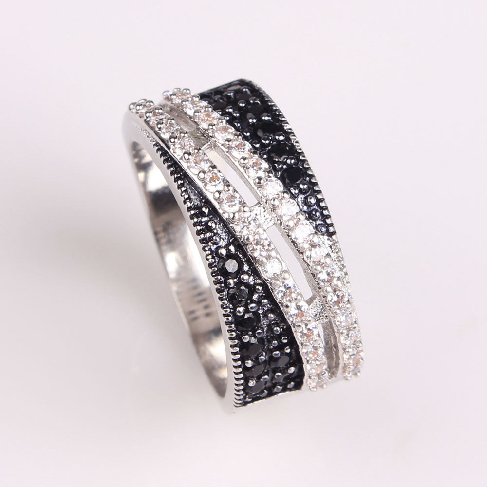 Women black zircon wedding ring platinum plated lady jewelry zircon 925 silver ring