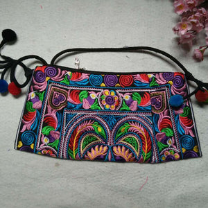 2016 Hot sale Embroidered bags National trend handmade fabric embroidery one shoulder cross-body women messenger Clutch handbag