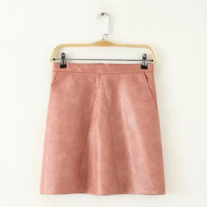 2016 autumn winter new high waist PU faux leather women skirt pink yellow black back zipper - Gifts Leads