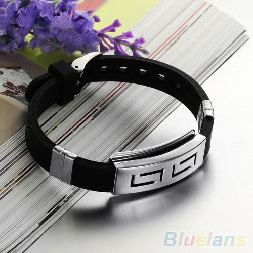 Men's Black Punk Rubber Stainless Steel Wristband Clasp Cuff Bangle Bracelet