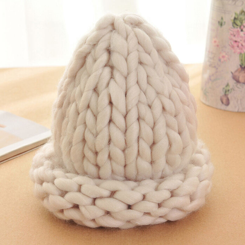 Women Winter Warm Hat Handmade Knitted Coarse Lines Cable