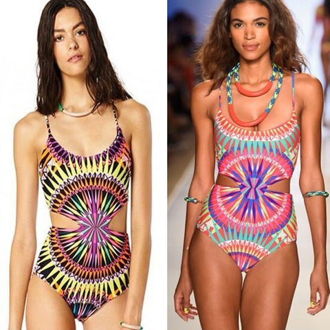 2016 New Sexy Floral Style Women One Piece Swimsuit Vintage Bathing Suit Swimwear Free Shipping
