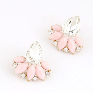 New Brand Design Retro Exquisite Women Acrylic Flower Crystal Gem Cubic Zircon Diamond Stud Earrings For Women Accessories