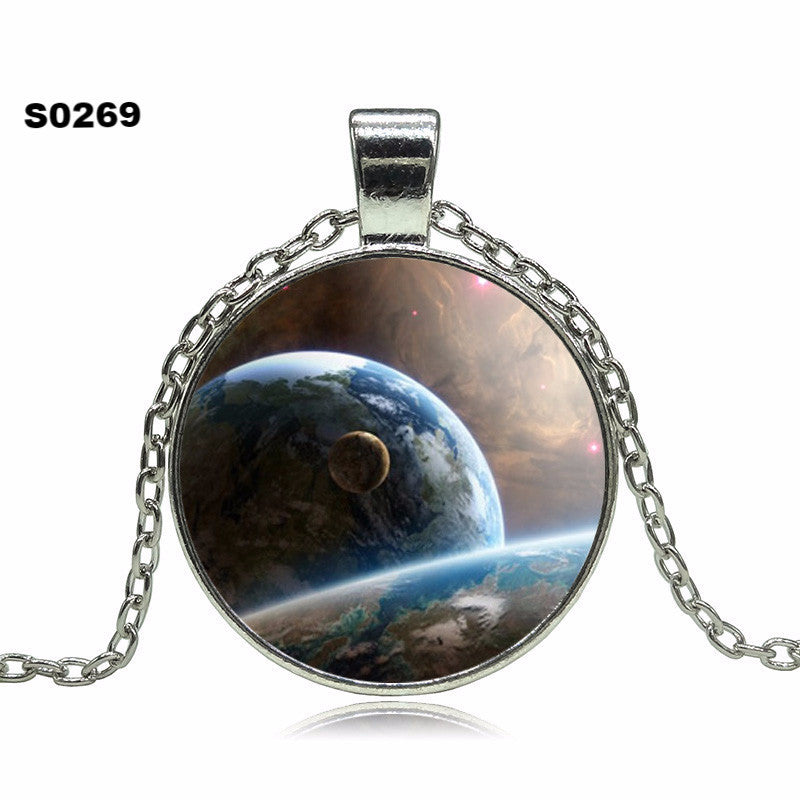 2016 Vintage Outer Space Universe Starry sky Silver pendant necklace glass cabochon silver statement Necklace Jewelry For Women