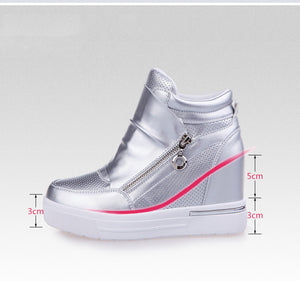 Shoes Woman Sport shoes zipper increasing heel zapatos