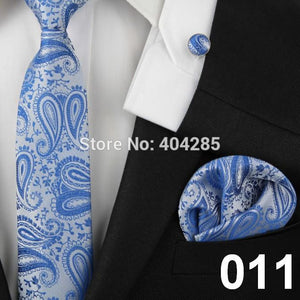 Men Ties Adult Blue Neck Tie Set Cufflinks pocket square