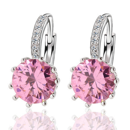 Fashion Alloy Silver-Plated 10 Color Geometry Crystal Earring Simple Jewelry Design Round Zirconia Earrings Statement  For Women