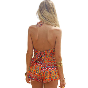 2017 Sexy Vintage Women Straps Sunflower Print Jumpsuits Hot Pants Playsuit Shorts Rompers womens jumpsuit