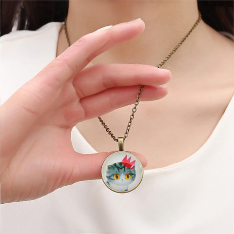 Fashion Vintage Jewelry Sweet Cat Glass Cabochon Pendant Necklace Handmade Antique Bronze Chain Necklace