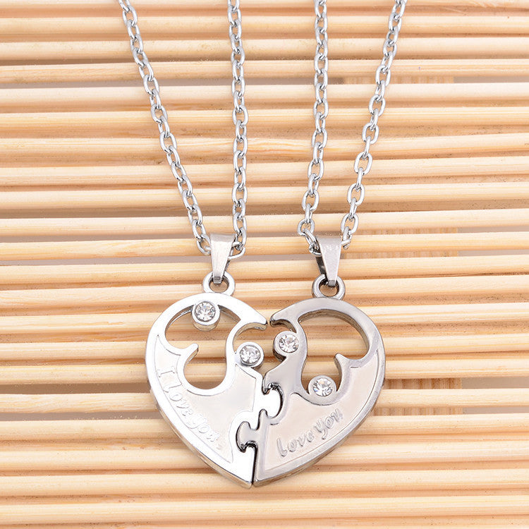 I Love You  Couples Lover Pendant Necklaces For Women And Men ,Hight Quality Stainless Double  Heart Necklace Jewelry