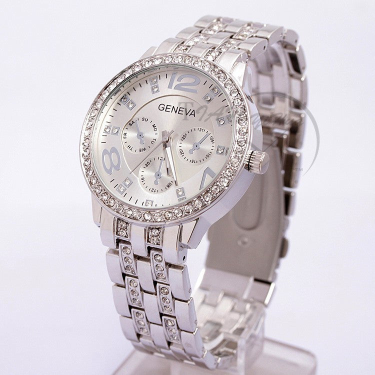 Women Gold Geneva Stainless Steel Quartz Watch
