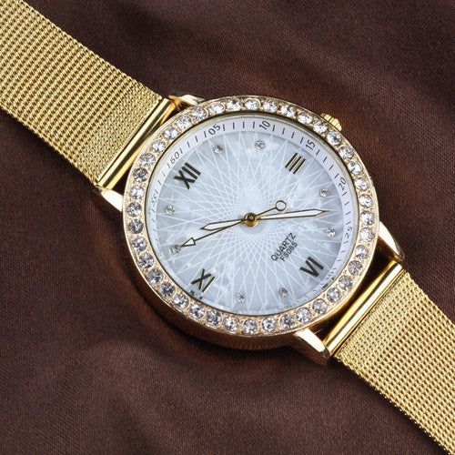 Elegant Ladies Crystal Roman Numerals Golden Plated