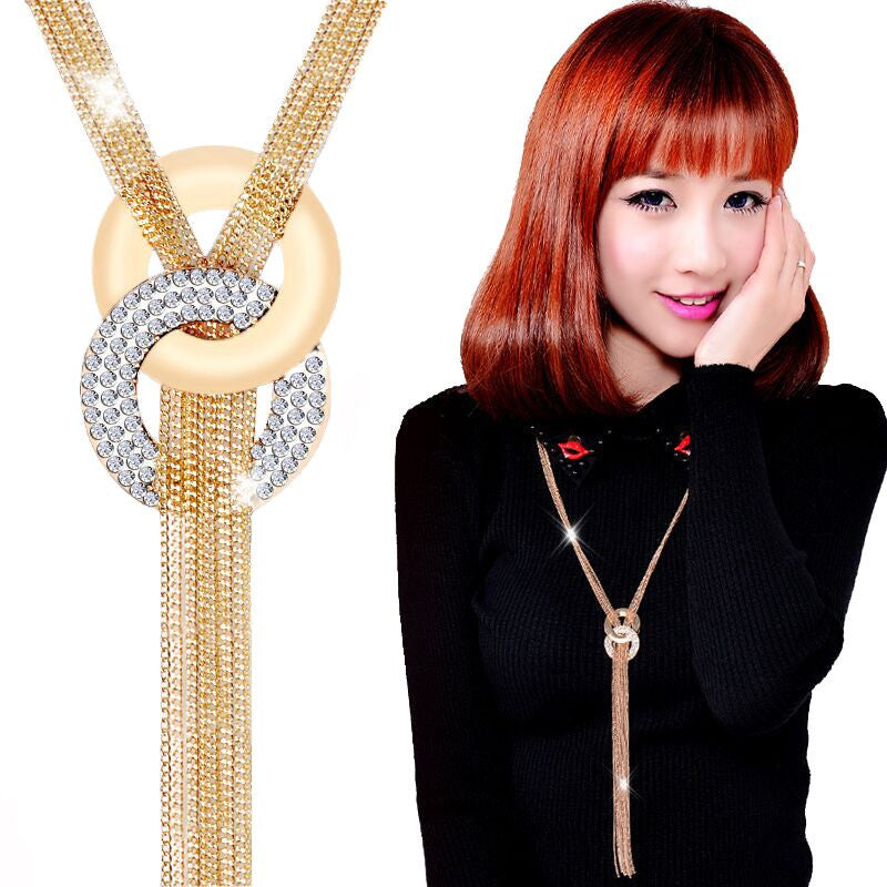 New Arrival Long Necklaces Gold Tassel Necklace Trendy Zinc Alloy Statement Necklace Rhinestone Necklaces For Women Jewelry