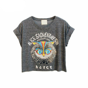 Latest New Women Loose Gray Owl Pattern Crop Top