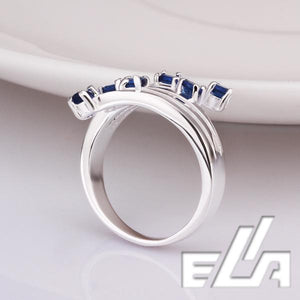 925 Silver Ring With SWA Element Crystals Pave Blue Cubic Zircon Stone