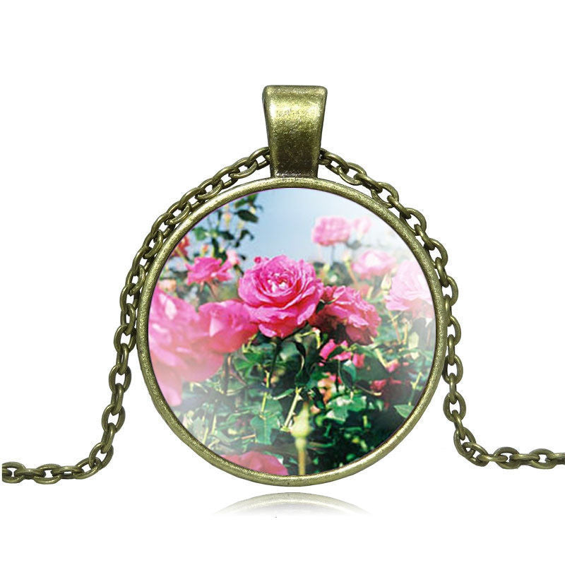 Fashion Rose Flower Pendant Necklace glass cabochon Vintage Bronze Accessories statement chain Necklace Women Jewelry Necklaces