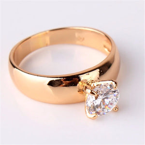 New 2016 18K Gold Plated Round Cut White Swiss Zircon CZ Band Engagement