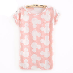 Mickey Printed White Portrait T Shirt Woman Summer