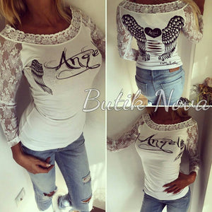 Angel Wings Printed Women's Lace T shirt 2016 Autumn Sexy