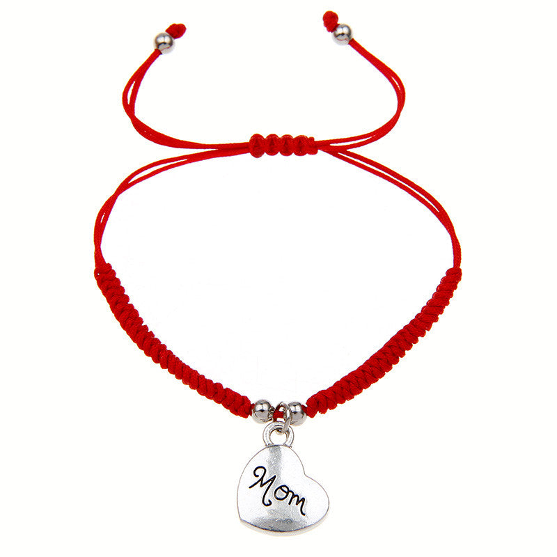2016 New Fashion Simple Design Handmade Red Rope Braided Silver Love Heart Mom Charm Wrap Bracelet Gift On Mother's Day Women
