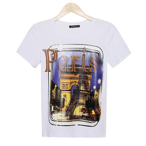 2016 Fashion branr t shirt women Paris printed t-shirt summer short sleeve fitness casual plus size tees women woman tops - Gifts Leads