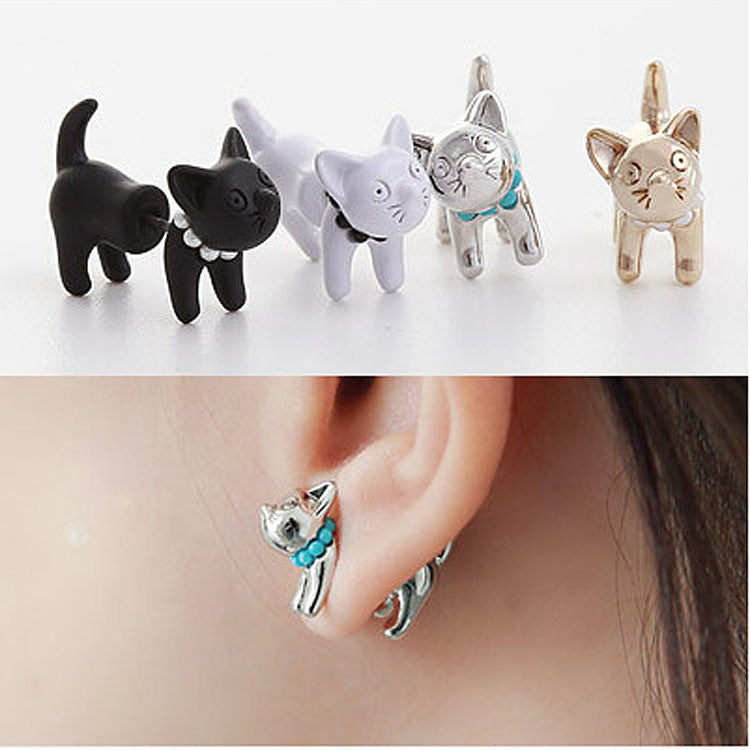 2016 New Arrival Cute Pearl Kitty Cat Stud Earrings set for Women Girl White Black Gold Silver 4 Colors