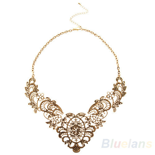 New European Vintage Luxurious Collar Chain  Bronze Lace Flower Chain Choker Necklace for Women Sale