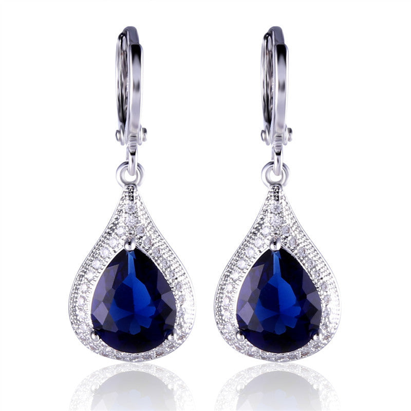 Creative jewelry 18k white gold plating earrings pear shape blue crystal fabulous wedding dangle earing