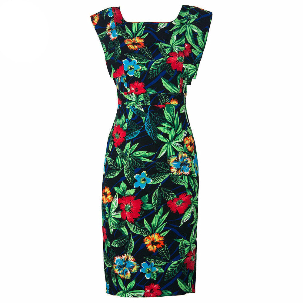 Women Sleeveless Cut out Backless Vintage Floral Graphic Prints