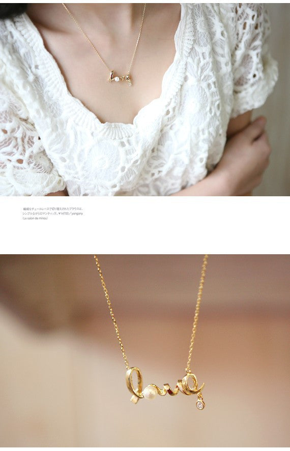 Korean fashion jewelry gently around a heart of love chic LOVE word necklace