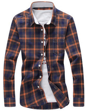 Shirt Men 2016 New Arrival Casual Plaid Shirts Turn-Down Collar