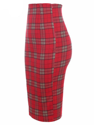 Women Classic Red Plaid High Waist Midi Pencil Skirt