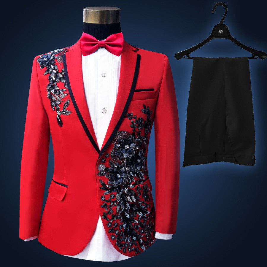 Suits ( jacket + pants ) Men fashion black paillette embroidered