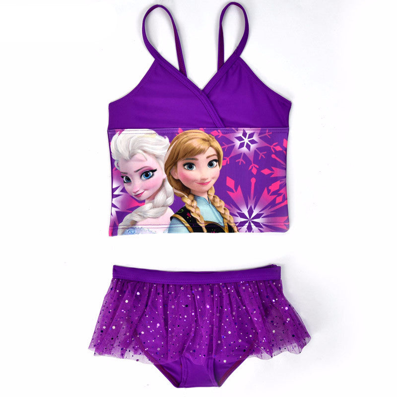 Princess Elsa Anna Bikinis Set Baby Girls Kids Lace Sequins Swimwear Two Pieces Bathing Suit For Children biquini infantil