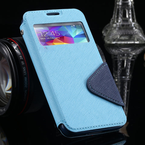 S4 Cases Luxury View Window Flip Leather Phones Case