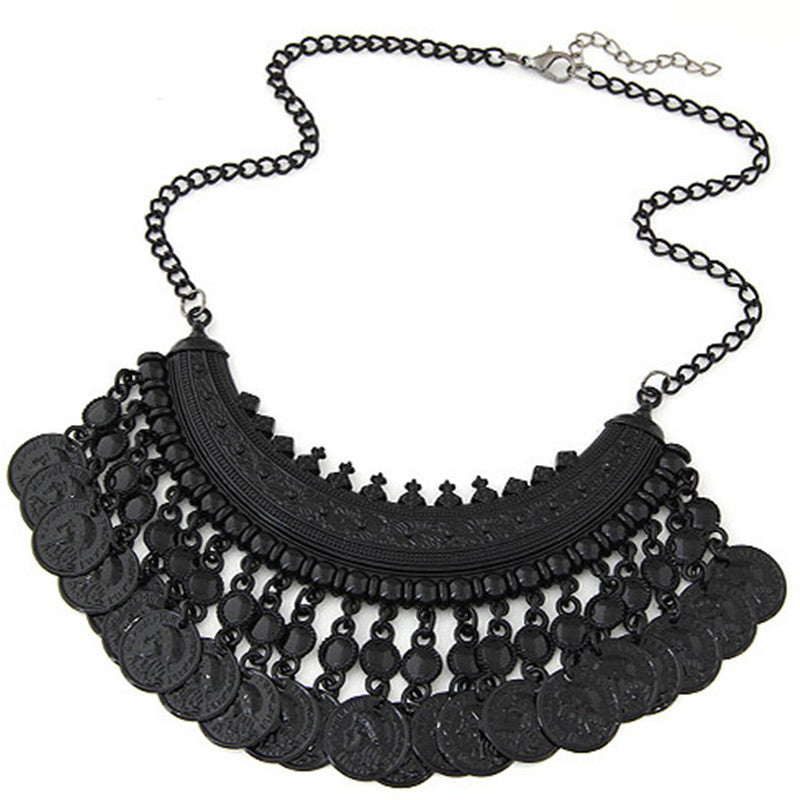 Star Jewelry 2016 New Design Fashion Alloy Coins choker Statement Necklace For Women Popular Maxi Necklace With Earrings