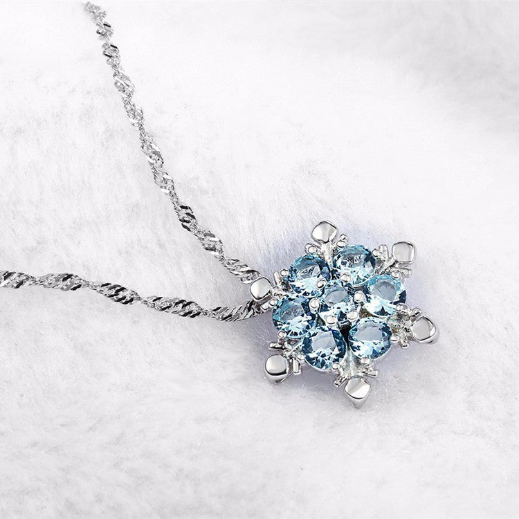 925 Sterling SILVER Frozen Princess ELSA Blue SNOWFLAKE Crystal NECKLACE