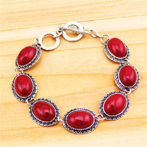 Vintage Look Antique Silver Plated Sunflower Red Turquoise Necklace Bracelet Earrings Jewelry Sets