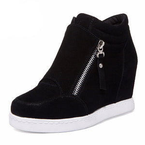 New Women Genuine Leather Height Increasing Shoes