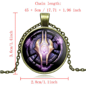 WoW World of Warcraft Necklace Draenei Crest Alliance Glass Cabochon Pendant Silver Chain Necklace Fine Jewelry High Quality