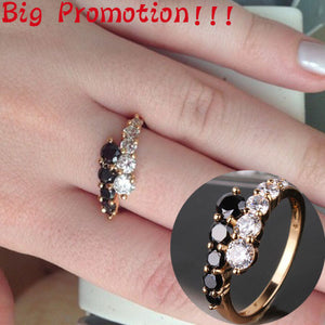 Mother Day Gift Jewelry 18K Gold Filled Rings White&Black Engagement