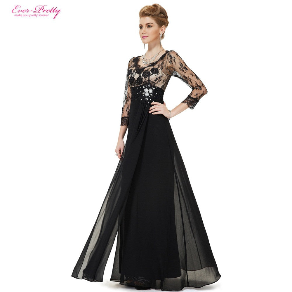 3/4 Sleeve Sheer Lace Rhinestone V-neck Evening Gown – Gifts Leads