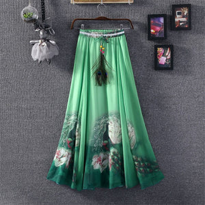 2016 Chiffon Maxi Skirts Womens Solid Etek Pleated Summer Vestidos Cute Tulle Office Long Skirts American Apparel Saia Clothing - Gifts Leads